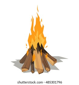 Isolated illustration of campfire logs burning bonfire