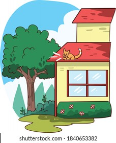 isolated illustration of cat stuck on house roof