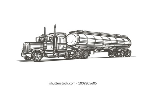 Isolated illustration of classic american truck with tank trailer. Vector.