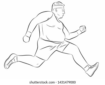 isolated illustration of fat man runner , black and white drawing, white background