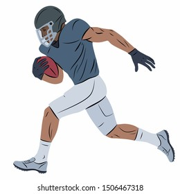 isolated illustration of a football player, colored vector drawing, white background