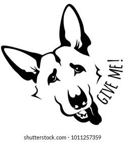 isolated illustration of german shepherd dog head
