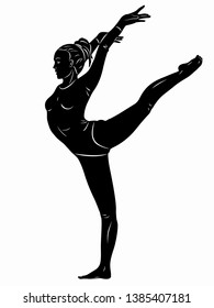 isolated illustration of a gymnast woman, black and white drawing, white background