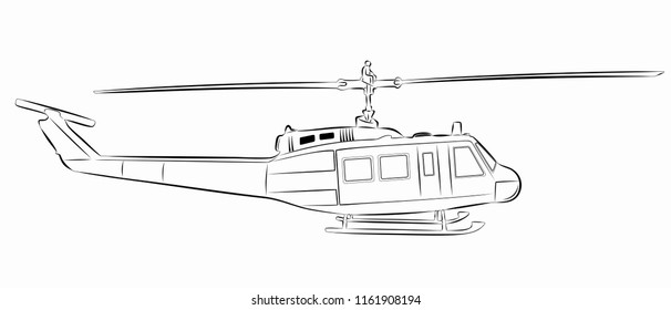 isolated illustration of helicopter. black and white drawing, white background