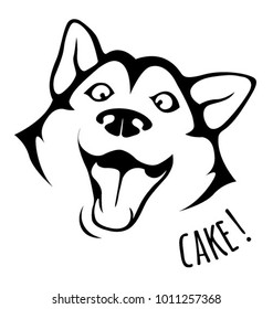 isolated illustration of husky dog head