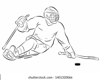 isolated illustration of an invalid ice hockey player , black and white drawing, white background