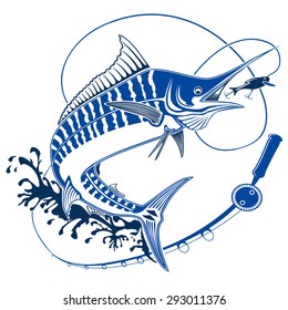 Isolated illustration of marline fish in waves with fishing rod. Vector illustration can be used for creating logo and emblem for fishing clubs, prints, web and other crafts.