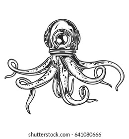 Isolated illustration of octopus in diver's helmet