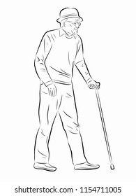 isolated illustration of an old man on a walk . black and white drawing. white background