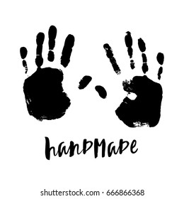 Isolated Illustration On White Background Black Imprint Of A Human Hand Ink Stamp With
