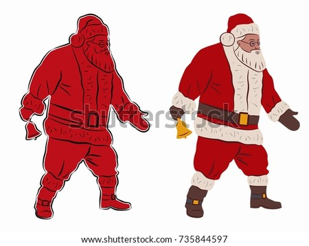 isolated illustration of santa claus colored drawing white background