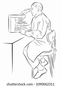 isolated illustration of scientist with microscope , black and white drawing, white background