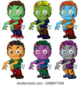 Isolated illustration of a set of zombies