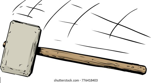 Isolated illustration of single sledge hammer moving down