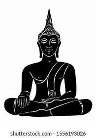 isolated illustration of sitting buddha, black and white drawing, white background