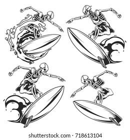 Isolated illustration of skeleton on surfing board