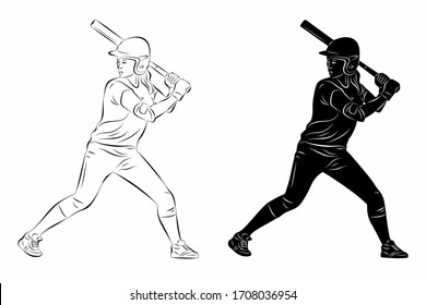 isolated illustration of a softball woman player, black and white vector drawing, white background