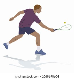 isolated illustration of a squash player , colored drawing, white background
