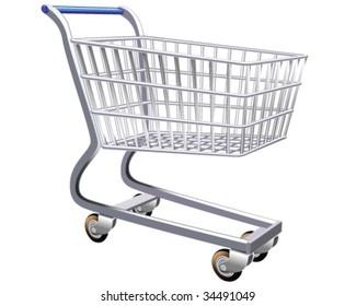 Isolated illustration of a stylized shopping cart