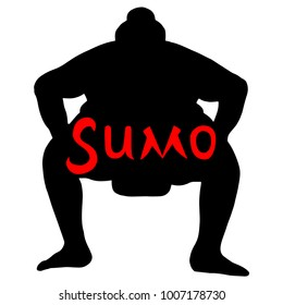 Isolated illustration of sumo wrestler, silhouette drawing, white background with red inscription Sumo