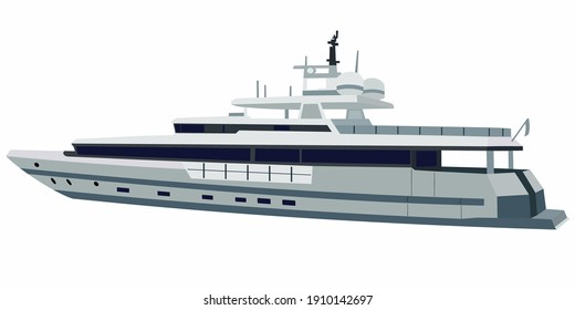 isolated illustration of yacht. colored vector drawing, white background