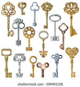 Isolated images of realistic vintage keys with golden silver and bronze decorative symbols on blank background vector illustration