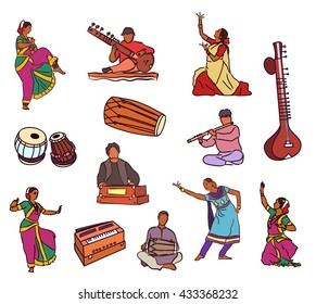 Isolated indian dancers, musicians and instruments . Vector set