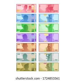 Isolated indonesia rupiah money bundle vector set collection of hundred, fifty, twenty, ten, five, two, and one thousand rupiah