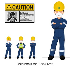 An isolated industrial worker with a dust mask on transparent background