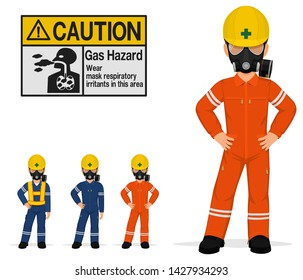 Isolated industrial workers with respirators on white background