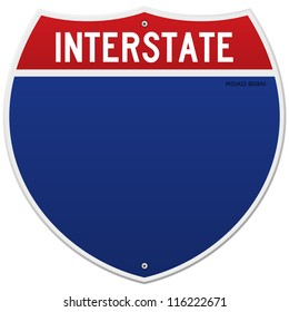 Isolated Interstate Sign - American blue and red motorway road sign on white background