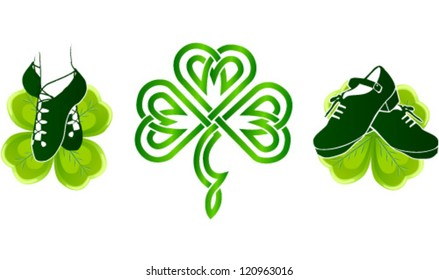 Isolated Irish dancing shoes on green clovers with celtic ornament
