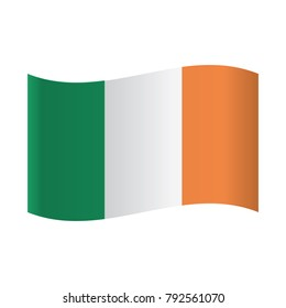 Isolated Irish flag, Vector illustration, Ireland flag. National flag of Ireland, vector.