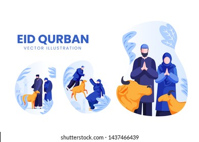 Isolated Islamic Eid Al-Adh Qurban People Character Vector Set, best for website, name card, mobile apps, book, poster, flyer, banner, card, and other related purpose.