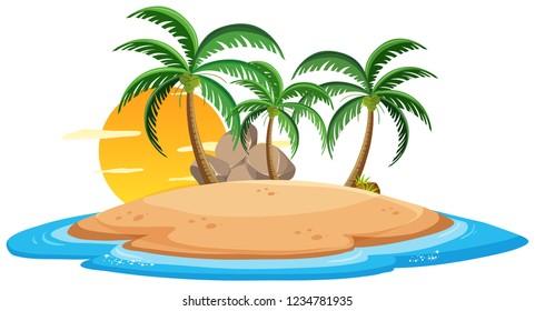 Isolated island on white background illustration