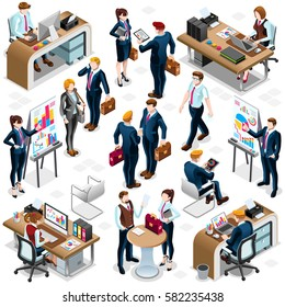 Isolated Isometric Business reunion training People. 3D meeting desk infographic crowd standing walking people icon set white background. Business Service Training Meeting background isometric vector
