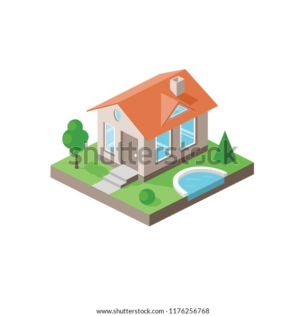 Isolated Isometric Small House Lawn Design Royalty Free Stock Image