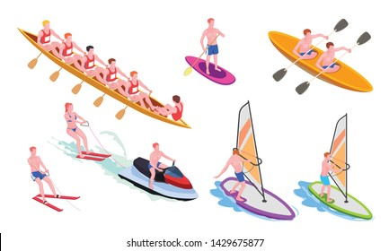 Isolated and isometric water sports icon set with diving windsurfing canoeing rowing snorkeling vector illustration