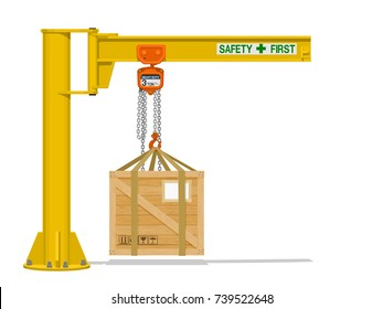 Isolated Jib crane with wooden crate on transparent background