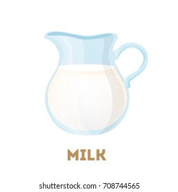 Isolated jug of milk on white background.