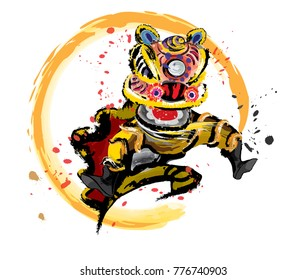 An isolated jumping Chinese lion in various colors and presented in splashing ink drawing style. Vector.