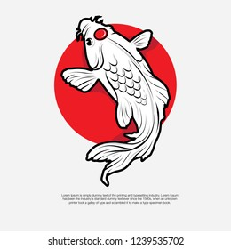 Isolated koi fish with red circle on head vector illustration.Good for symbol or decorative element.