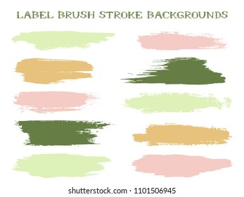 Isolated label brush stroke backgrounds, paint or ink smudges vector for tags and stamps design. Painted label backgrounds patch. Interior paint color palette samples. Ink dabs, green pink splashes.