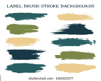 Isolated label brush stroke backgrounds, paint or ink smudges vector for tags and stamps design. Painted label backgrounds patch. Interior paint color palette swatches. Ink dabs, green splashes.