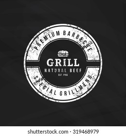 Isolated label with text for barbecue events