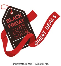 Isolated Label With Text And Discounts For Black Friday