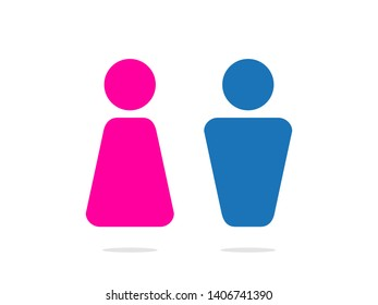 isolated ladies and gentlemen pictograms human silhouette gender sign in pink and blue color flat icon vector design