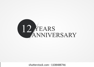 isolated lettering of happy 12 years anniversary with black color