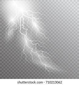 isolated lightnings Magic and bright lighting effects on transperent background. Vector Illustration