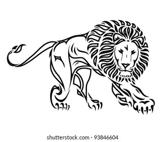 isolated lion drawing - vector illustration